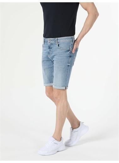 Colin's CL1054560_Q1.V2_DN40341 044 Karl Süper Düşük Bel Düz Paça Straight Fit Açık Mavi Erkek Jean şort Renkli